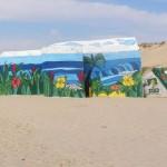 Les blockhaus, vestiges de la deuxième guerre mondiale (mur de l'atlantique) ont été décorés par des jeunes au cours d'un projet pédagogique.
