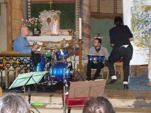 Les musiciens et artistes lors du happening : Bruno MAS, Michel LIOUS et Catherine BILLY